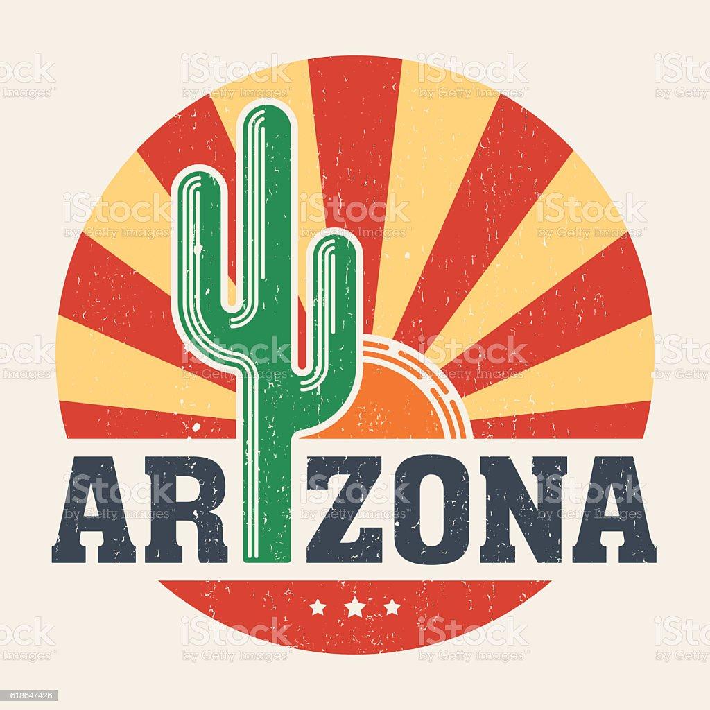 Arizona t-shirt design, print with styled saguaro cactus vector art illustration