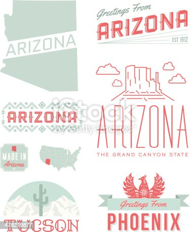 A set of vintage-style icons and typography representing the state of Arizona, including Tucson and Phoenix. Each items is on a separate layer. Includes a layered Photoshop document. Ideal for both print and web elements