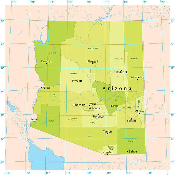 Arizona Vector Map Detailed vector map of the US State of Arizona with administrative divisions. The colors in the .eps-file are ready for print (CMYK). Included files are EPS (v10) and Hi-Res JPG (4924 x 4924 px). lake powell stock illustrations