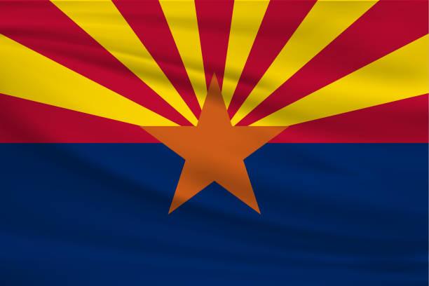 Arizona Waving Flag vector art illustration