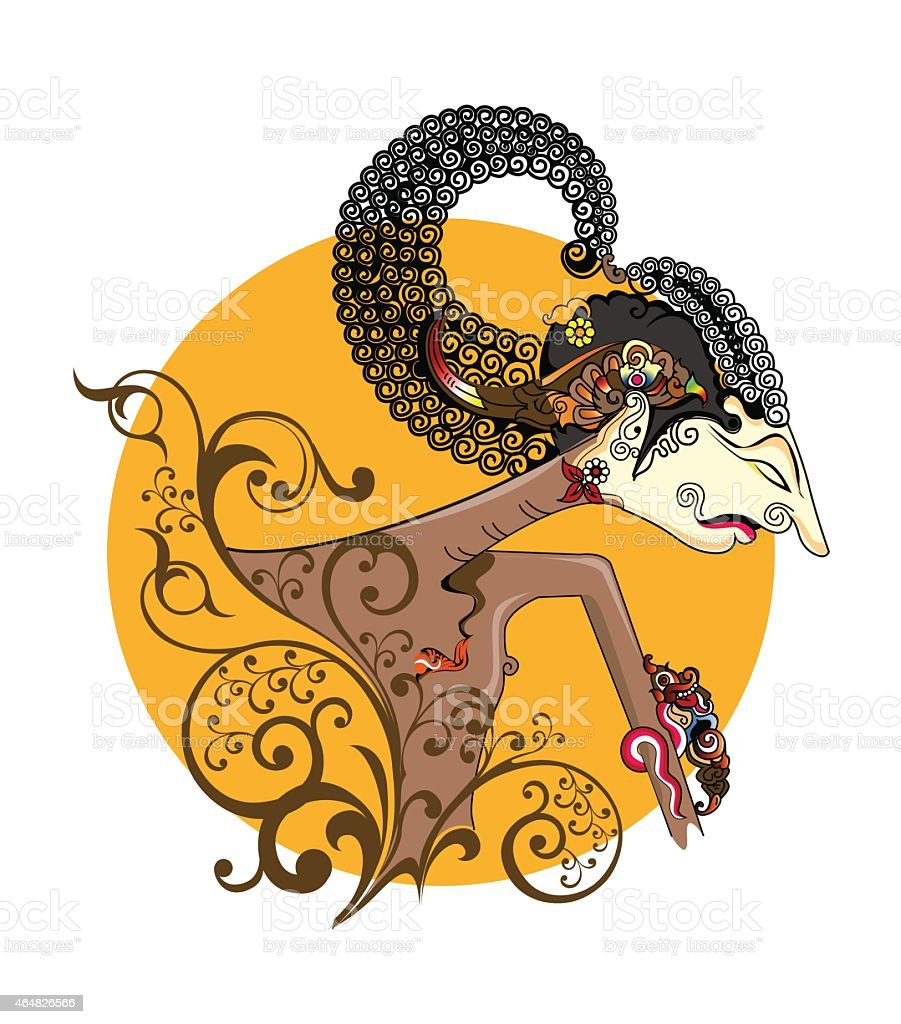 Arjuna puppet characters in floral style vector art illustration