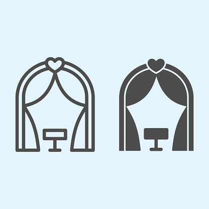 Ark line and solid icon. Romantic ceremony altar place. Wedding asset vector design concept, outline style pictogram on white background, use for web and app. Eps 10.