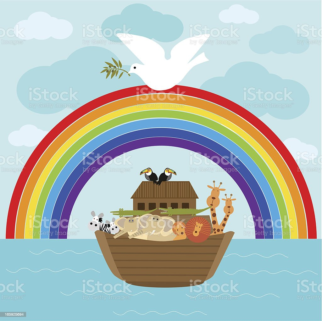 Ark of Noah and Dove With Olive Branch royalty-free stock vector art
