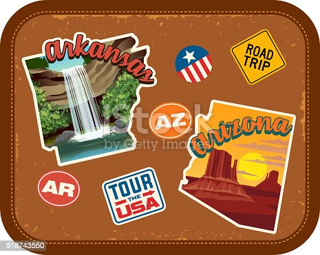 Arkansas, Arizona travel stickers with scenic attractions and retro text. State outline shapes. State abbreviations and tour USA stickers. Vintage suitcase background