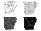 Arkansas County Map (Gray, Black, White)