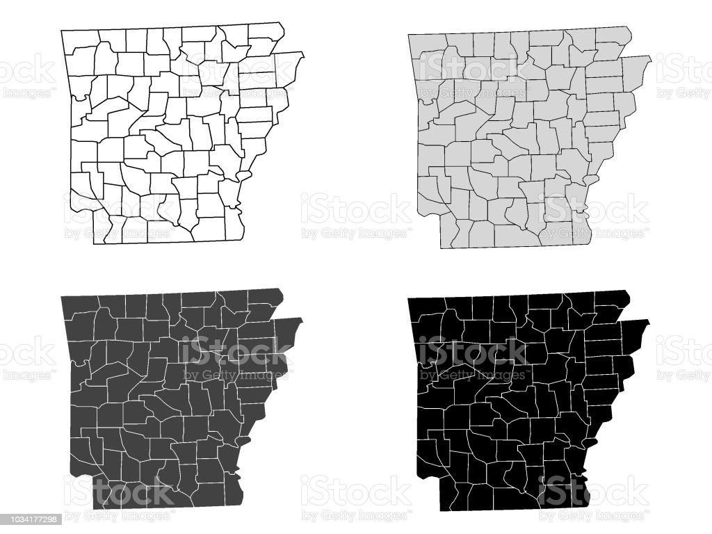 Arkansas County Map (Gray, Black, White) vector art illustration
