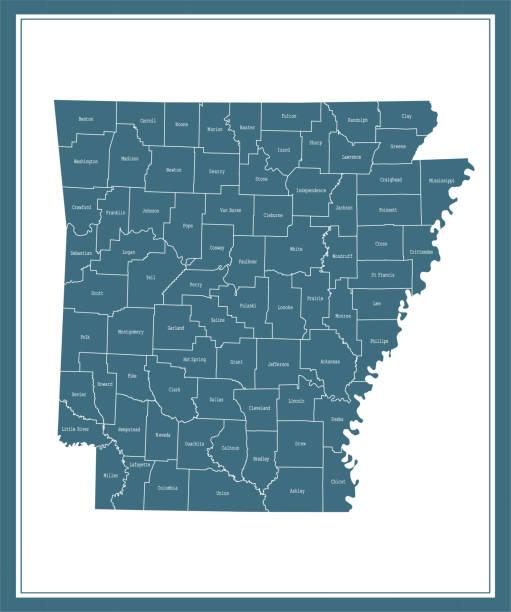 stockillustraties, clipart, cartoons en iconen met kaart van arkansas county - infuusoplossing