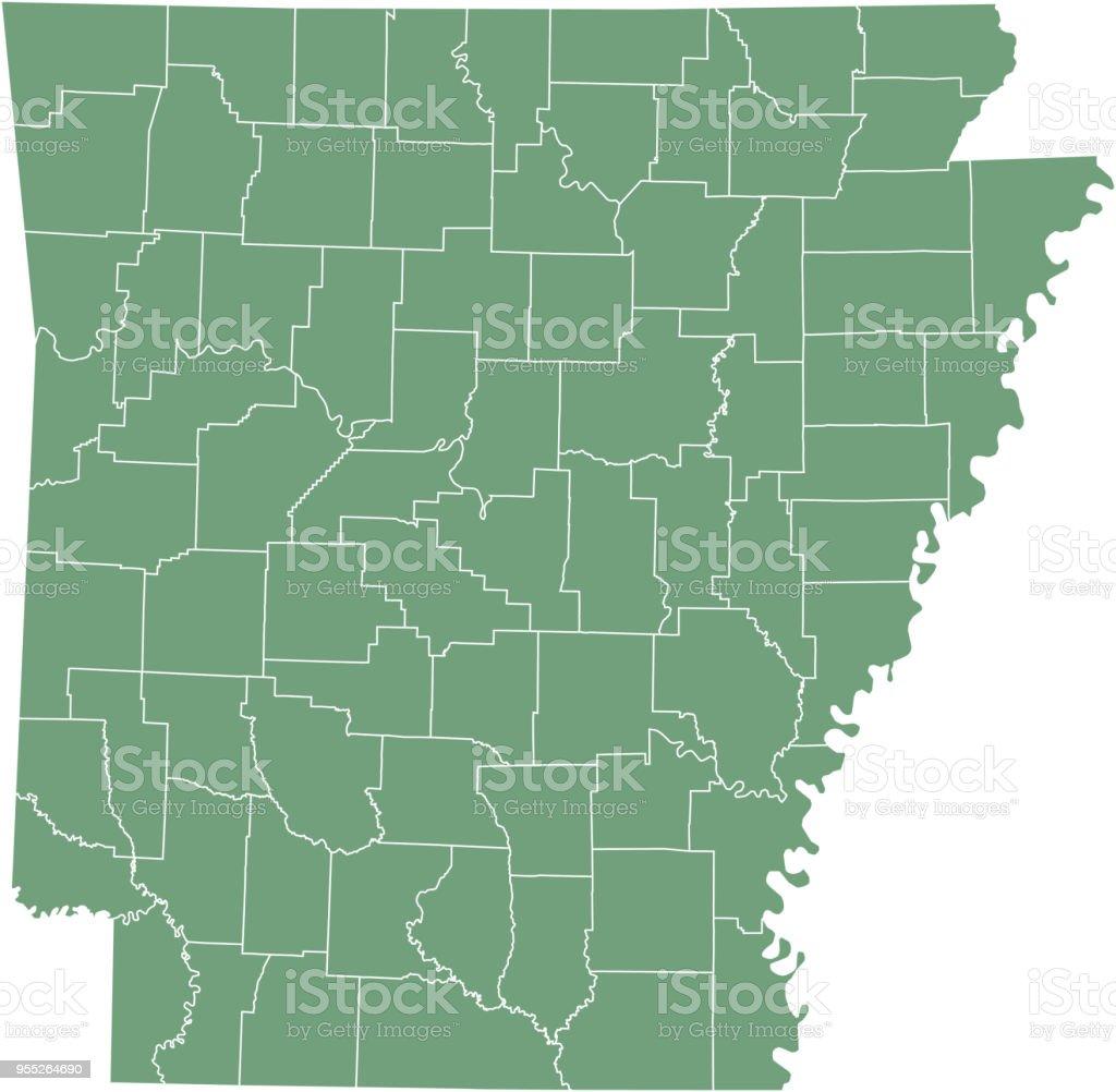 Arkansas County Map Vector Outline Illustration Green Background ...