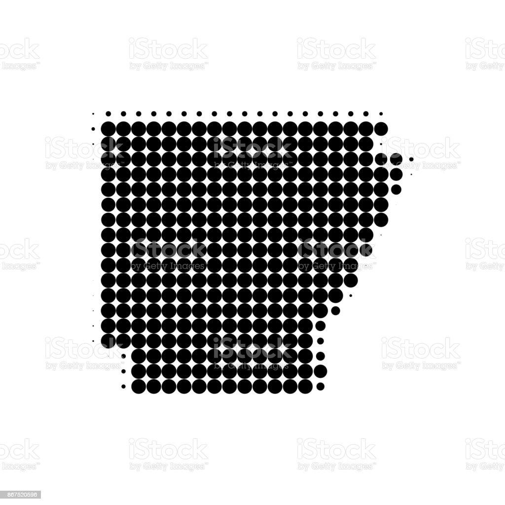 Arkansas dotted map. Vector vector art illustration