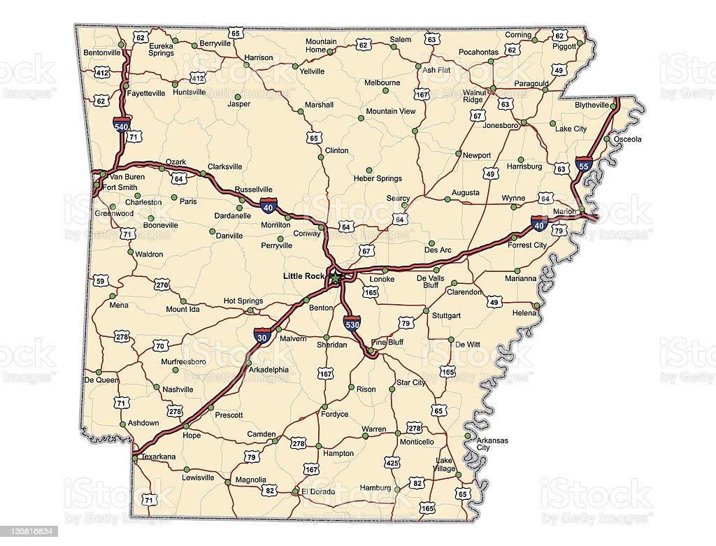 Arkansas Highway Map (vector) vector art illustration