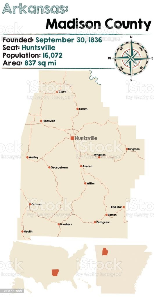 Arkansas Madison County Map Stock Vector Art & More Images ... on madison washington map, northwest county map, madison va map, madison al map, stewart county map, long county map, grainger county map, early county map, letcher county map, bremer county map, chesapeake county map, tennessee map, west orange county map, madison village map, sweet grass county map, travel indiana county map, madison elevation map, elliott county map, chariton county map, warwick county map,