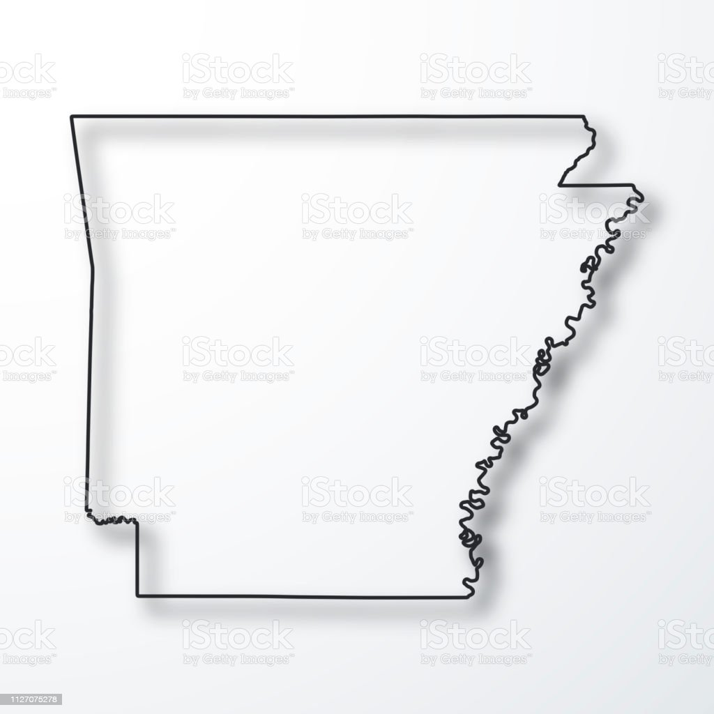 Image of: Arkansas Map Black Outline With Shadow On White Background Stock Illustration Download Image Now Istock