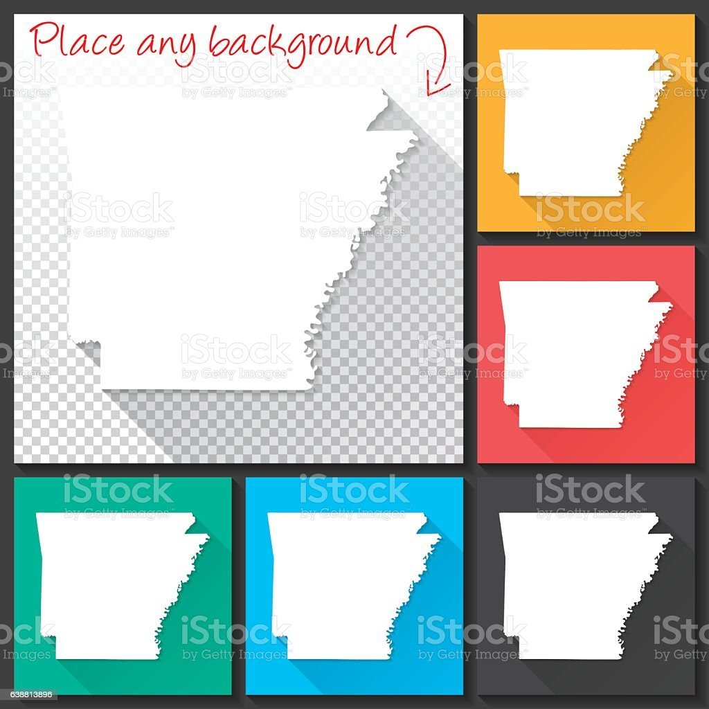 Arkansas Map for design, Long Shadow, Flat Design vector art illustration