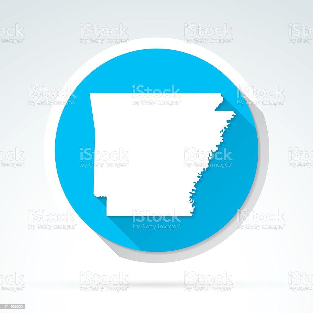 Arkansas map icon, Flat Design, Long Shadow vector art illustration
