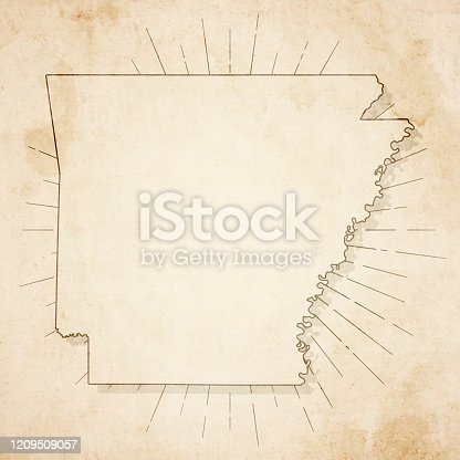 Map of Arkansas in a trendy vintage style. Beautiful retro illustration of an antique map with light rays in the background and on old textured paper. Included: Realistic texture of an old parchment (colors used: sepia, beige, brown). Vector illustration (EPS10, well superimposed and grouped). Easy to edit, manipulate, resize or colorize.