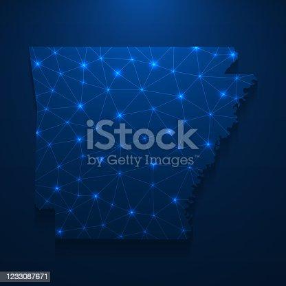istock Arkansas map network - Bright mesh on dark blue background 1233087671