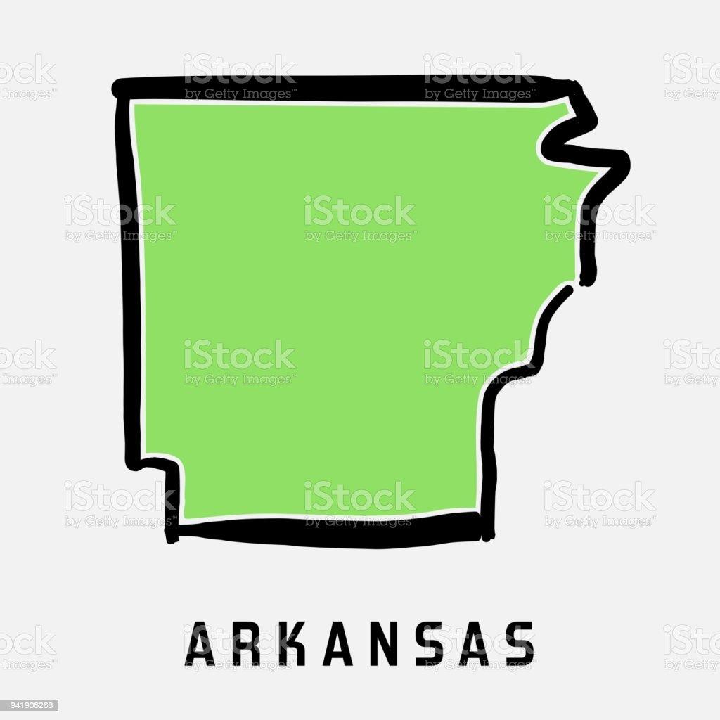 Arkansas map outline vector art illustration