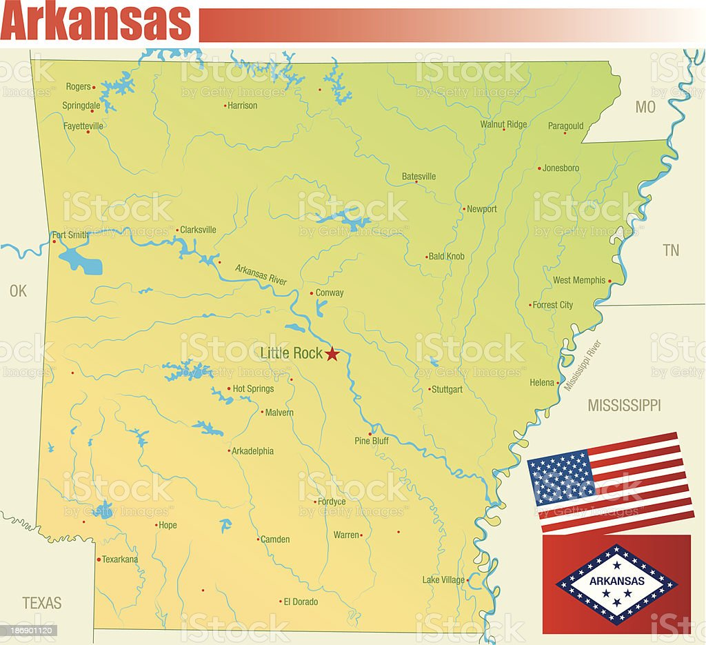 Arkansas Map Stock Vector Art & More Images of American Flag ...