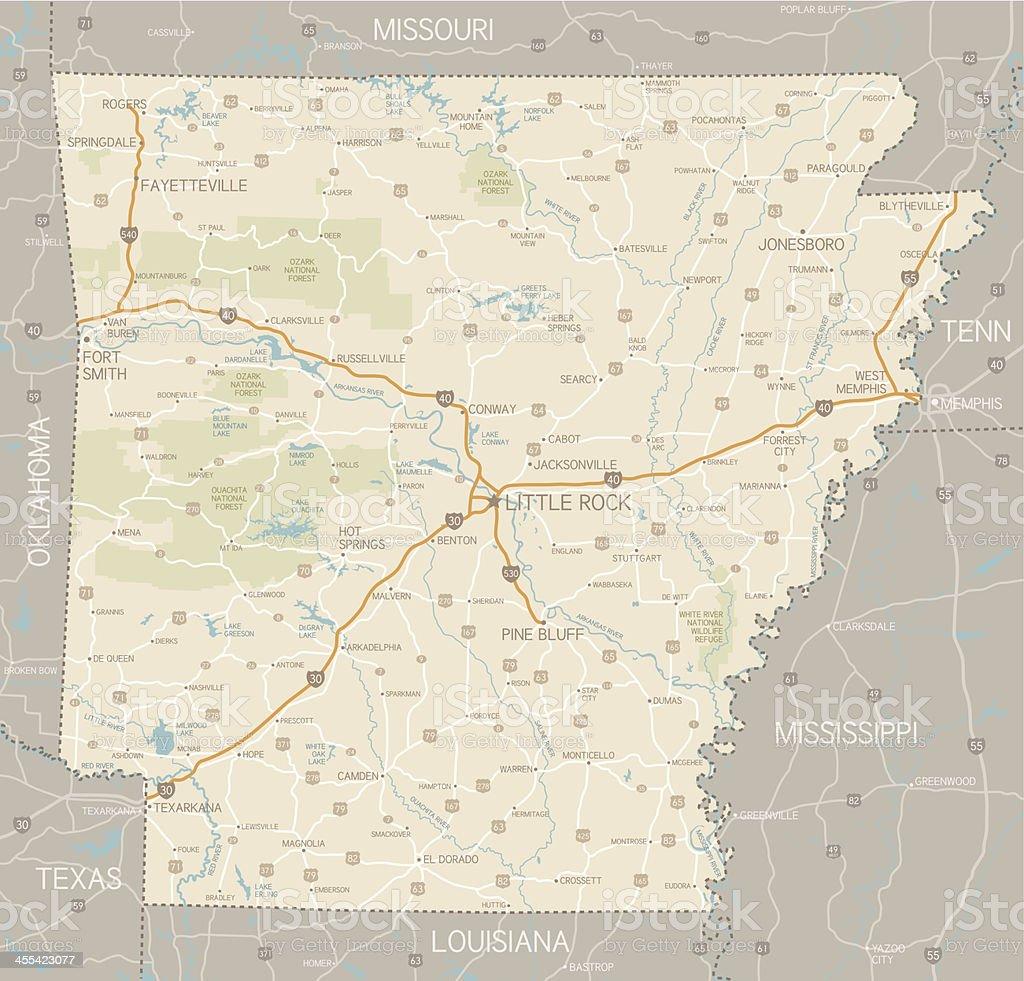 Arkansas Map vector art illustration