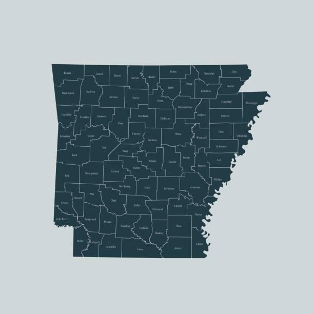 Arkansas map – artystyczna grafika wektorowa