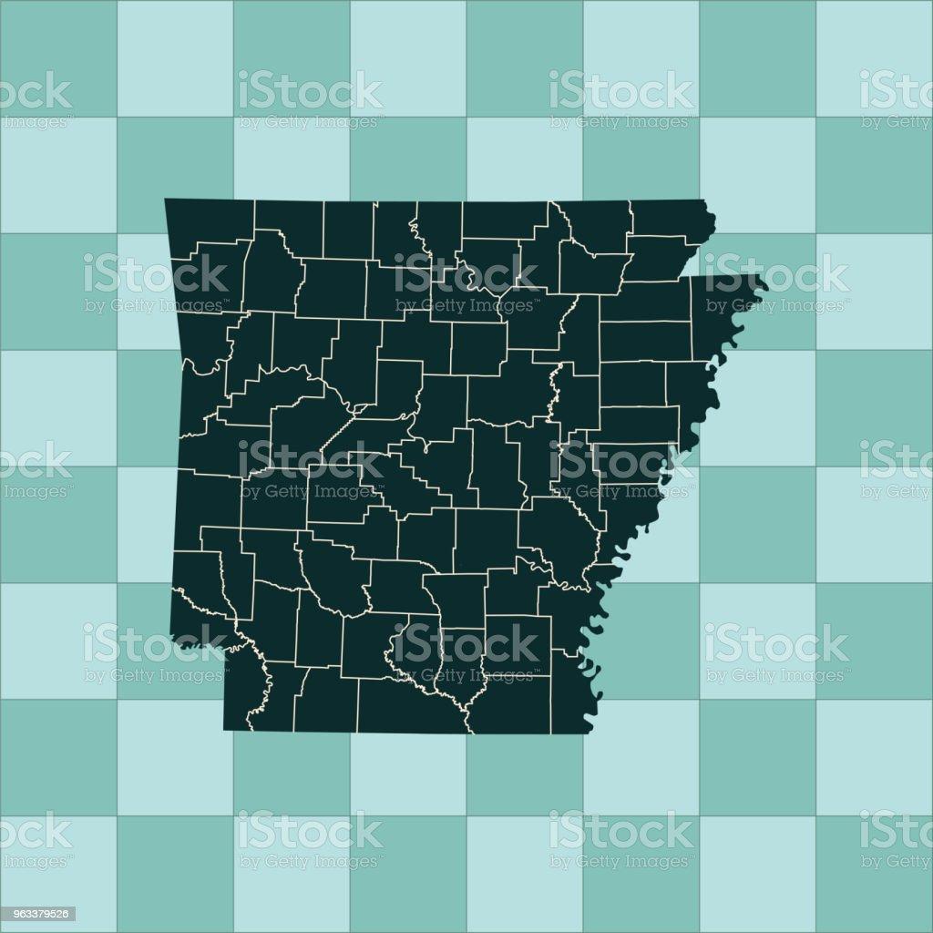 Arkansas map - Grafika wektorowa royalty-free (Ameryka Północna)