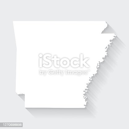 istock Arkansas map with long shadow on blank background - Flat Design 1270698856