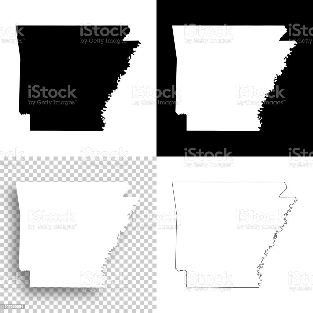 Image of: Arkansas Maps For Design Blank White And Black Backgrounds Stock Illustration Download Image Now Istock