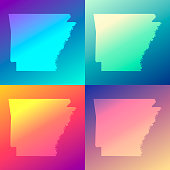 Arkansas maps with colorful gradients - Trendy background