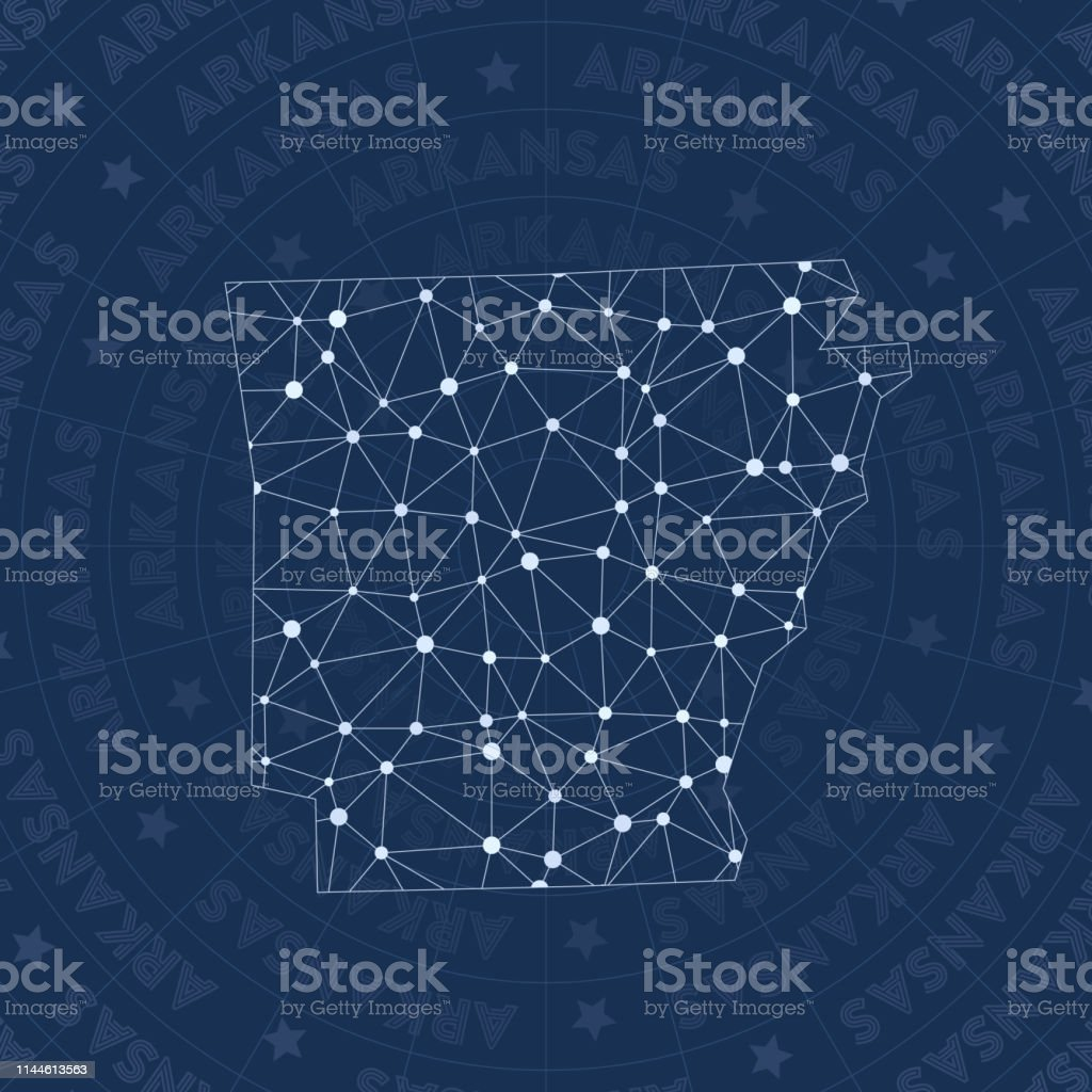 Arkansas network, constellation style us state map. Remarkable space...