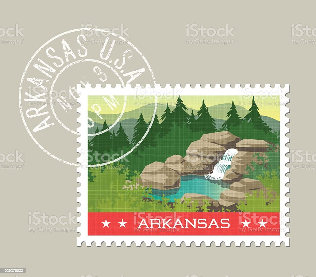 Arkansas, postage stamp. Ozarks waterfall and hot spring. vector art illustration