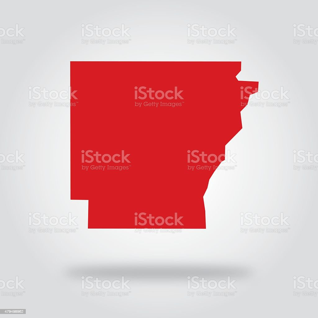 Arkansas Red State Icon vector art illustration