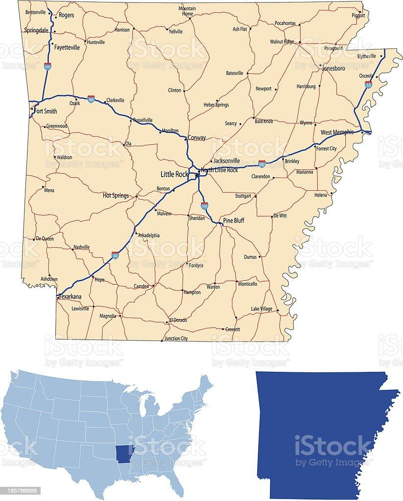 Arkansas road map vector art illustration