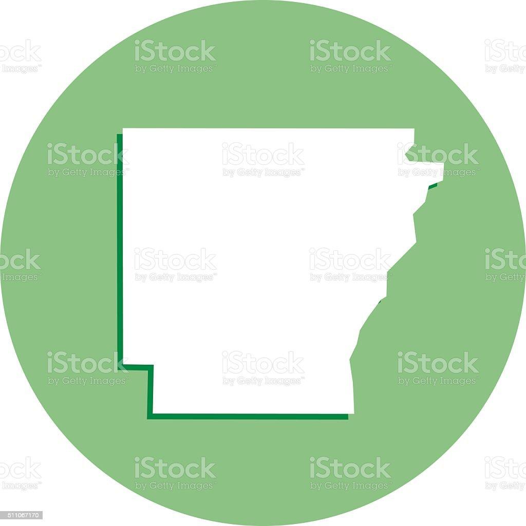 Arkansas Round Map Icon vector art illustration