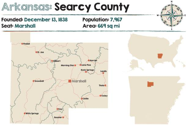 Arkansas Searcy County Map Stock Vector Art & More Images of ...