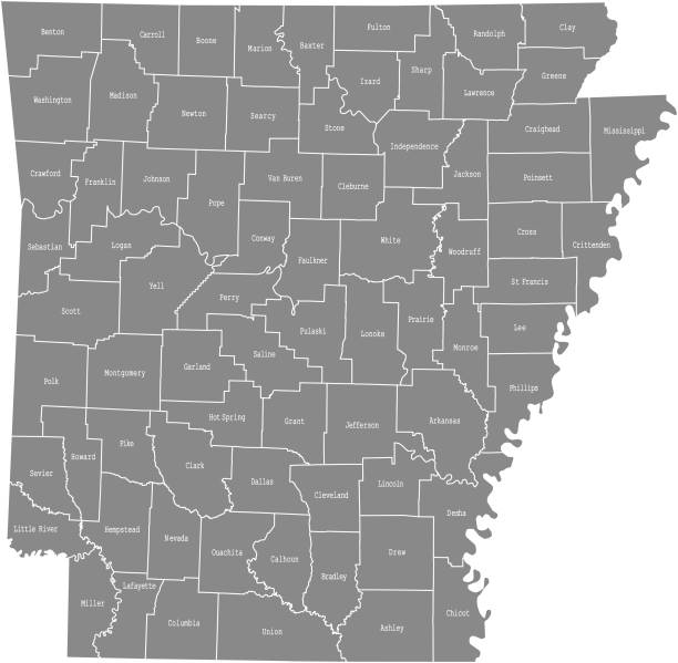 Arkansas state of USA county map vector outlines illustration with counties names labeled in gray background. Highly detailed county map of Arkansas state of United States of America Arkansas state of USA county map vector outlines illustration with counties names labeled in gray background. Highly detailed county map of Arkansas state of United States of America southern usa illustrations stock illustrations