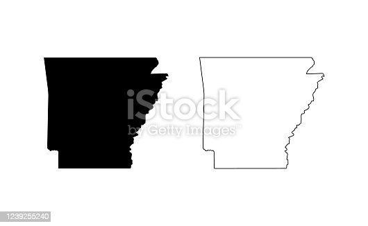 istock Arkansas state silhouette, line style. America illustration, American vector outline isolated on white background 1239255240
