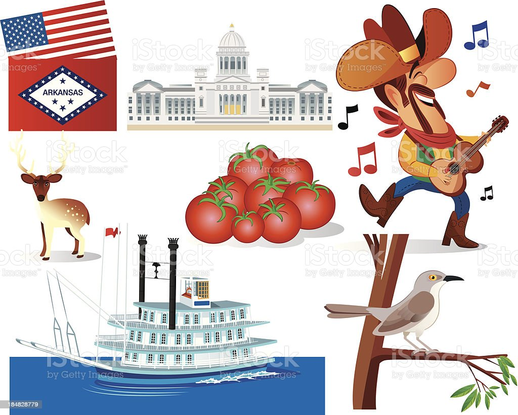 Arkansas Symbols vector art illustration