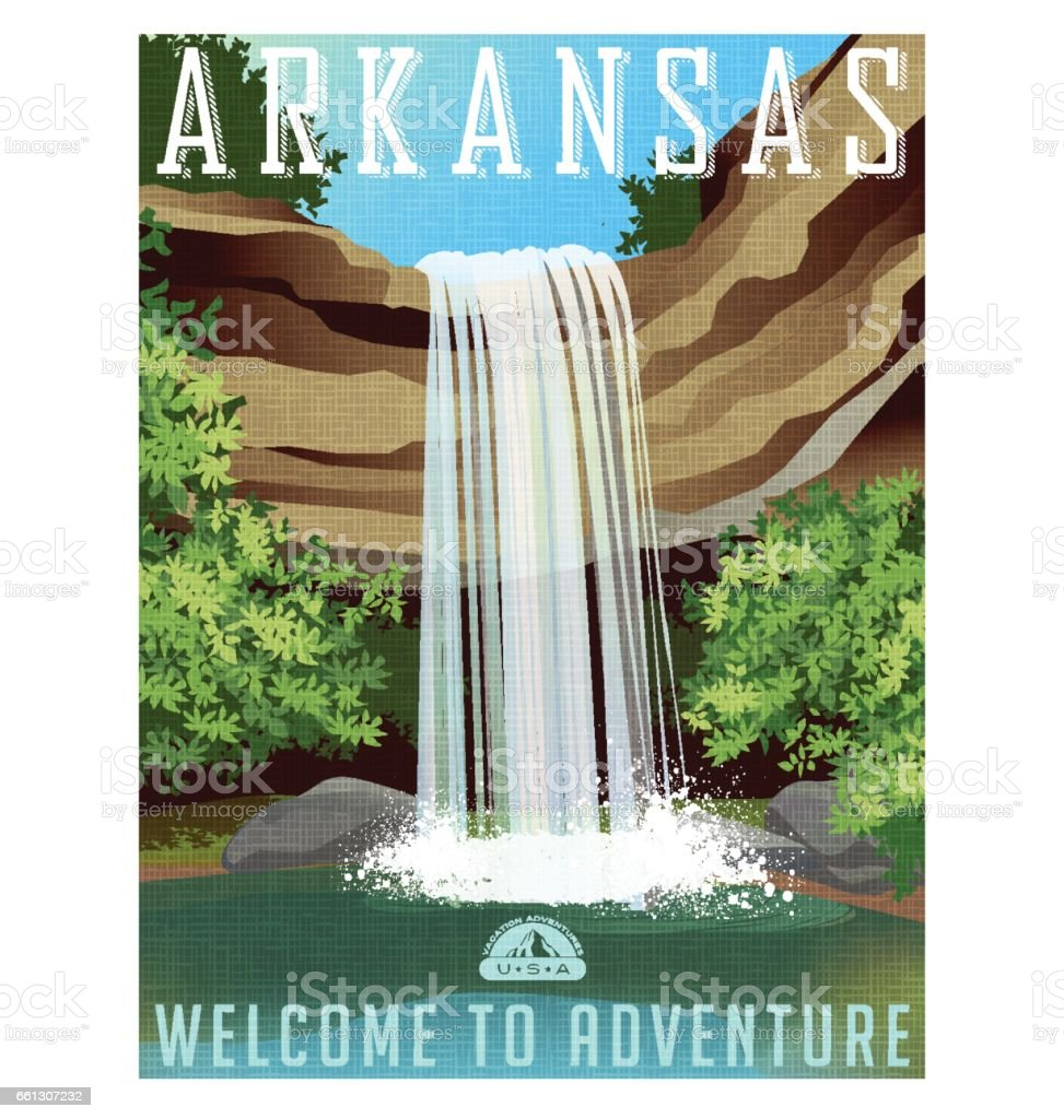 Arkansas travel poster or sticker. Vector illustration of beautiful waterfall over rocky ledge vector art illustration