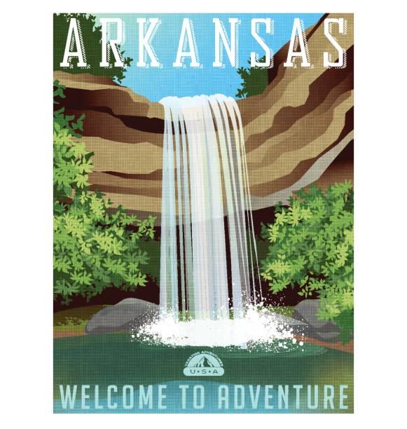 arkansas-reise-plakat oder aufkleber. vektor-illustration von wunderschönen wasserfall über felsige kante - nationalpark stock-grafiken, -clipart, -cartoons und -symbole
