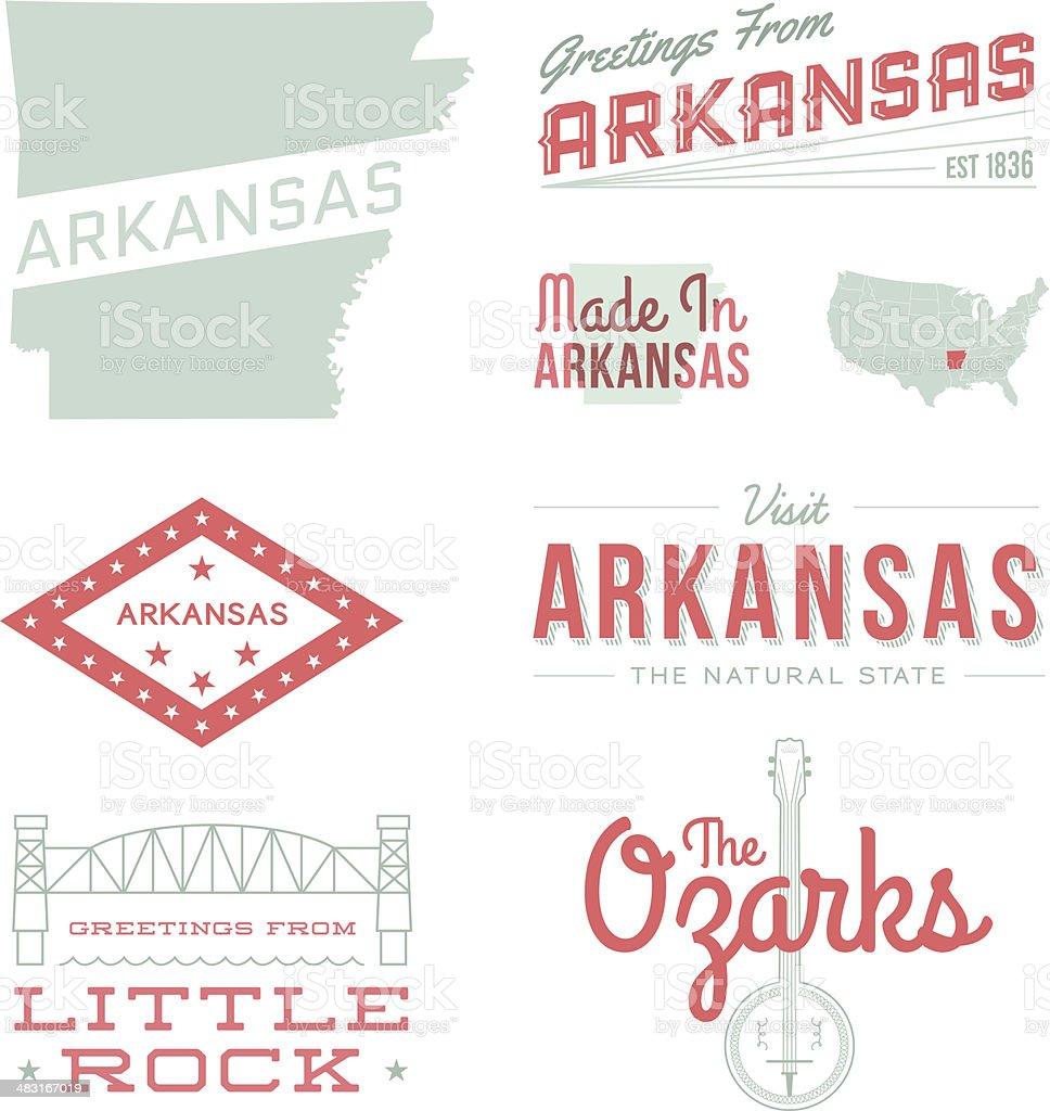 Arkansas Typography vector art illustration