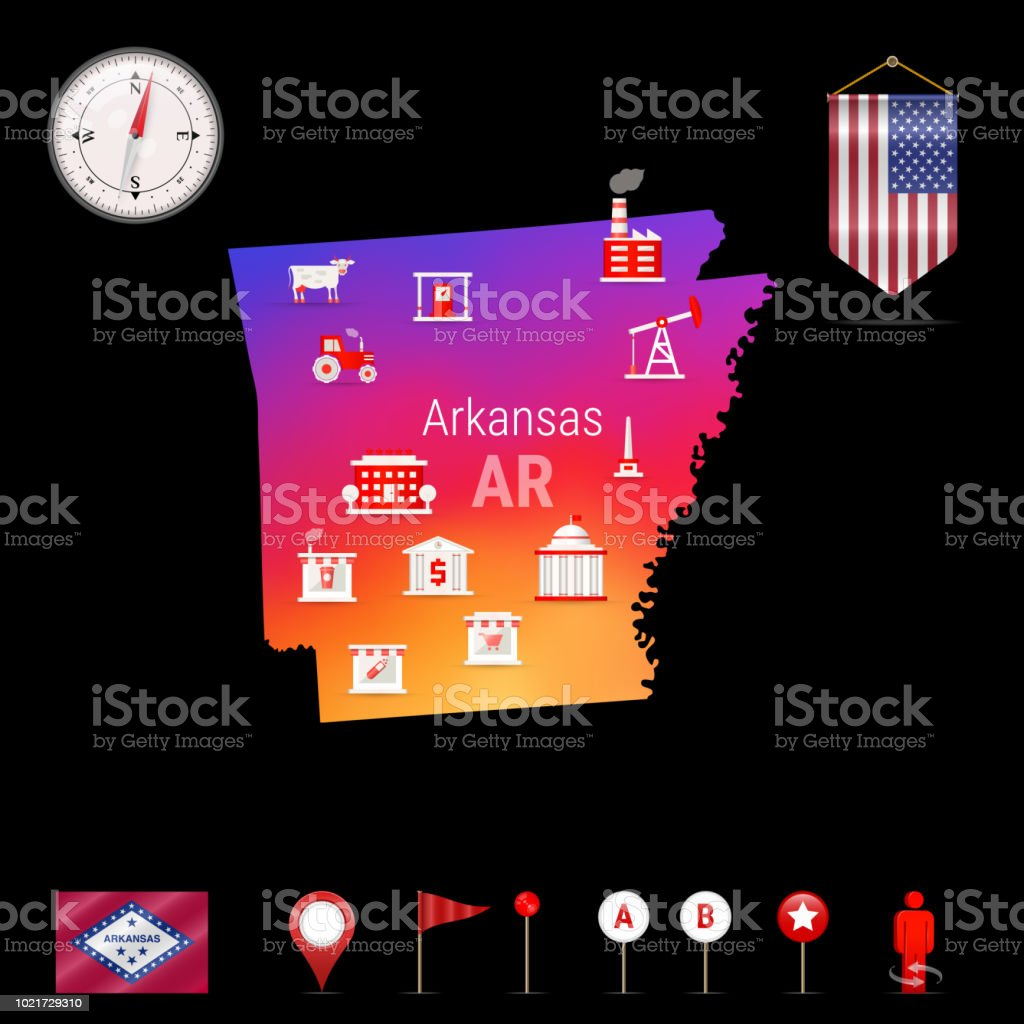 Arkansas Vector Map Night View Compass Icon Map Navigation Elements