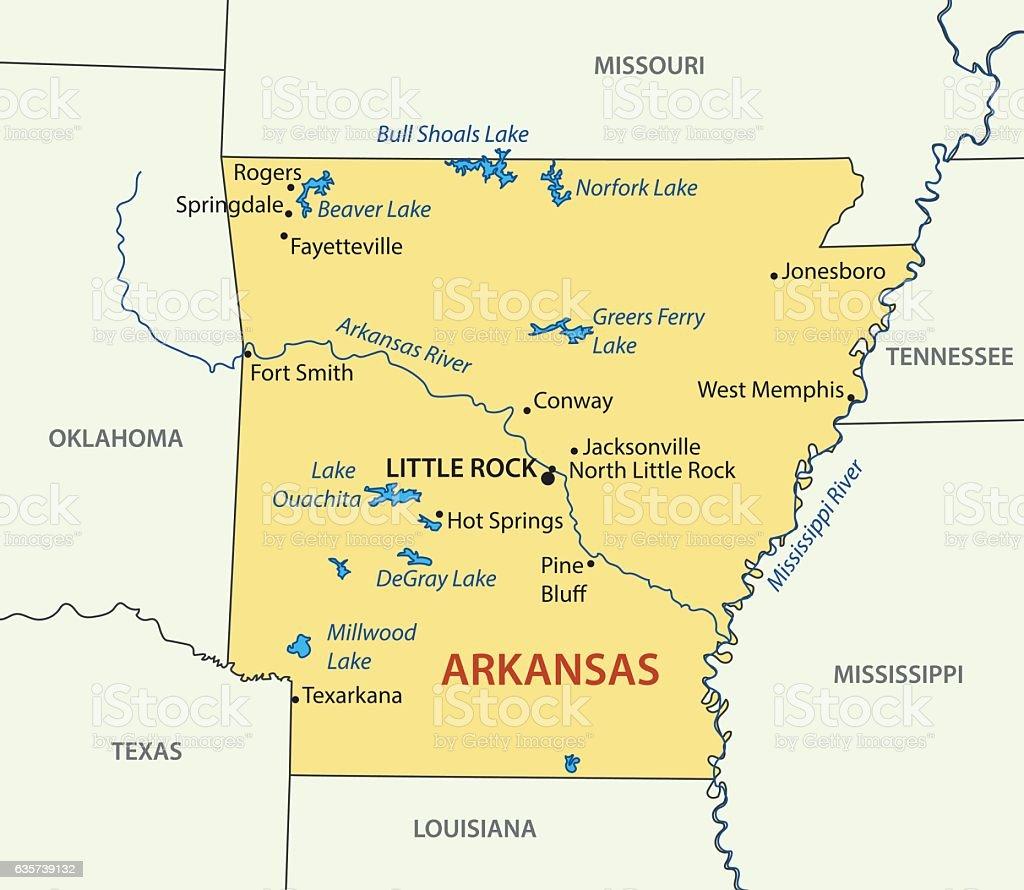Arkansas - vector map vector art illustration