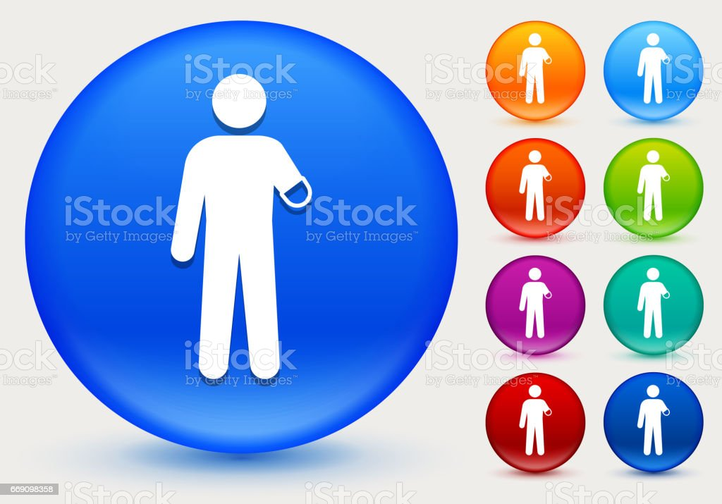Arm Amputee Icon on Shiny Color Circle Buttons vector art illustration