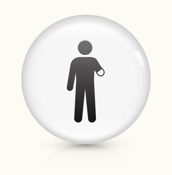 Arm Amputee icon on white round vector button vector art illustration