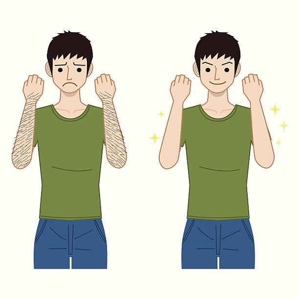 stockillustraties, clipart, cartoons en iconen met arm hair removal - dierenhaar