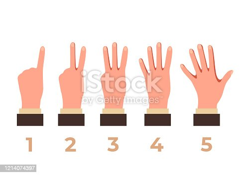 466657402 istock photo Arm hand count fingers isolated set. Vector flat graphic design isolated illustration 1214074397