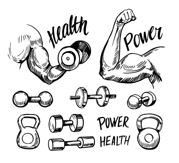 Arm muscle. Fitness emblems. Hand drawn sketch converted to vector vector art illustration