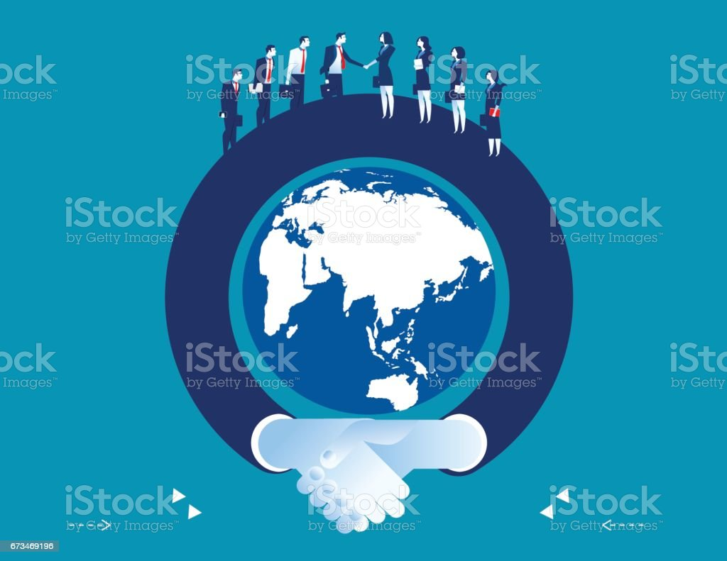 Arm shaking hand surrounding the globe. Concept business success illustration. Vector flat. vector art illustration