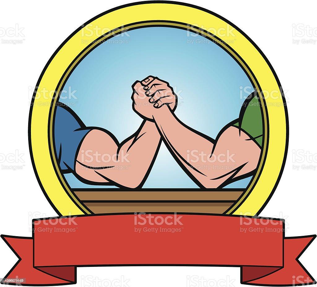 Arm Wrestling Banner vector art illustration