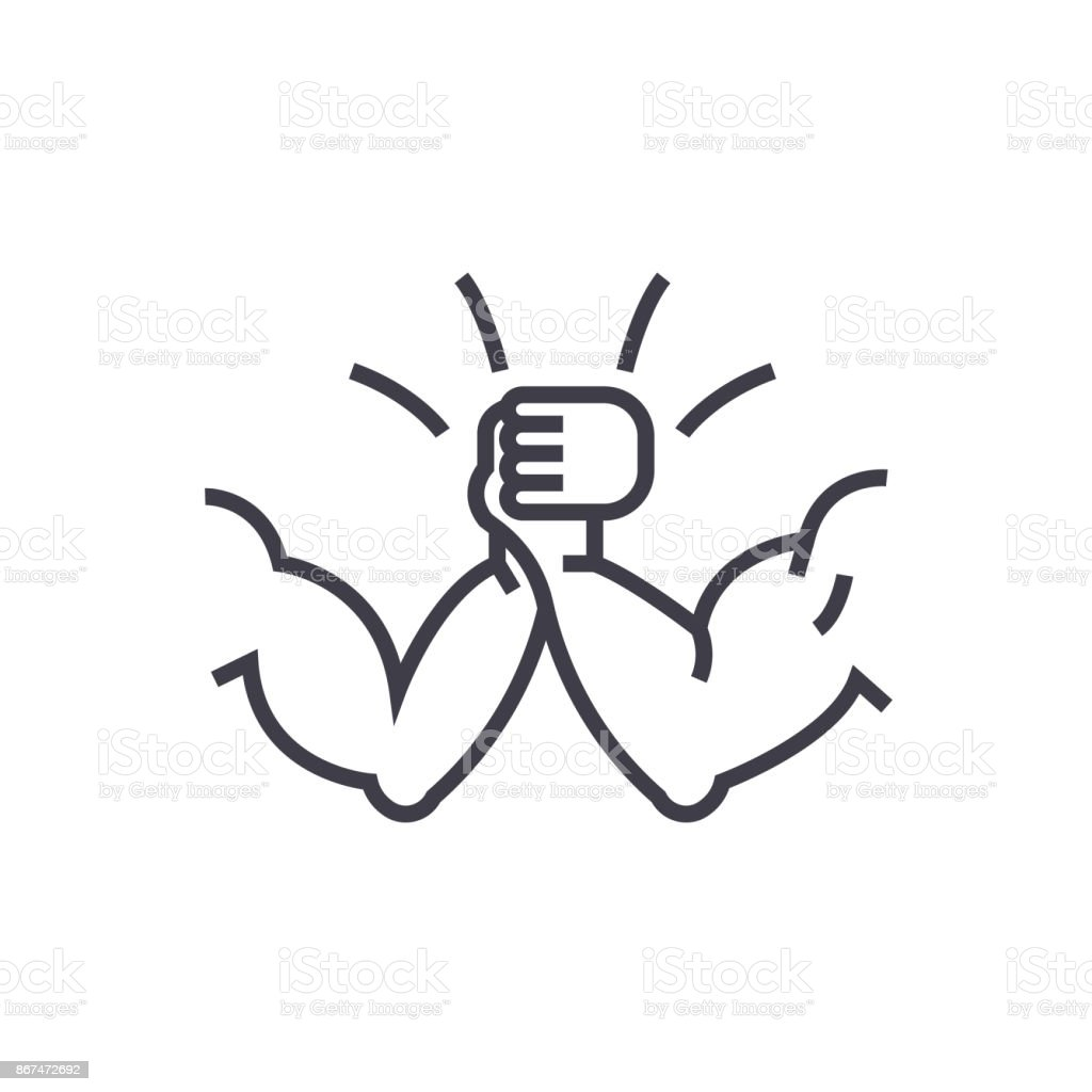 arm wrestling concept vector thin line icon, symbol, sign, illustration on isolated background vector art illustration